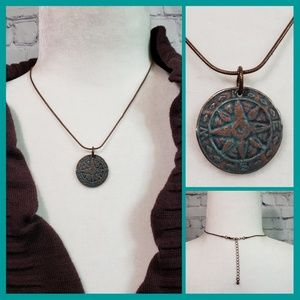 Jewelry - Necklace with Turquoise & Brass Compass Pendant